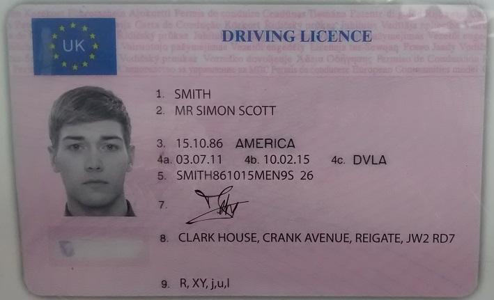 Образец английских водительских прав